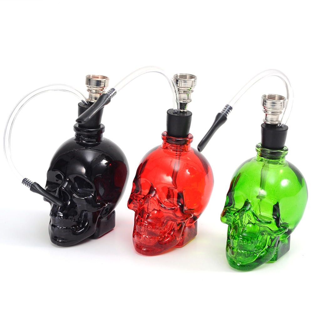 ONUOSS High Quality Glass Water Pipe Hookah Tobacco Punk Ghost Head Skull